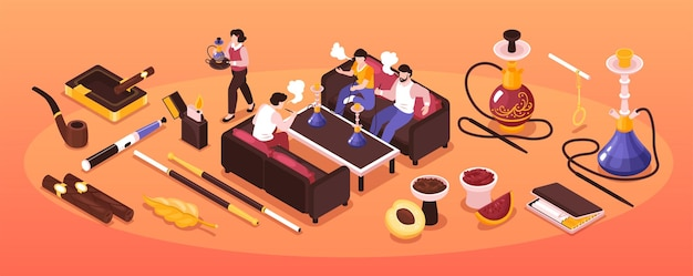 Isometric hookah tobacco smoke narrow composition with group of people smoking shisha and cigarette products icons