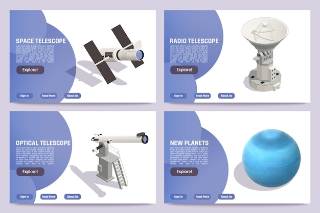 Isometric horizontal astronomy banners set with blue planet space optical and radio telescopes 3d
