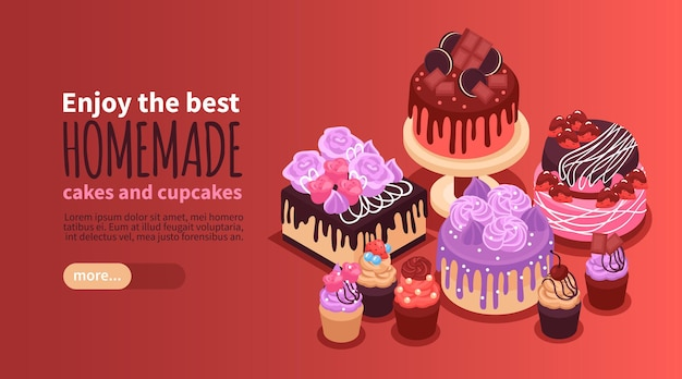 Isometric horizontal banner with delicious homemade cakes and cupcakes 3d