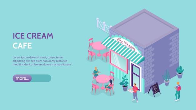 Banner orizzontale isometrico con gelateria che costruisce posti a sedere all'aperto e clienti
