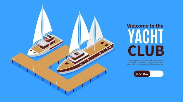 Banner orizzontale isometrica con due yacht di lusso e illustrazione del molo in legno