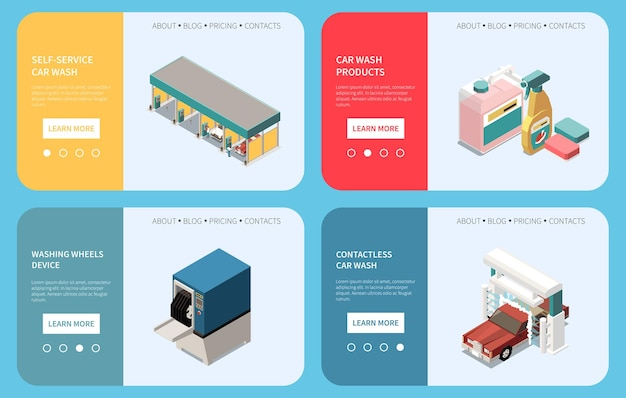 Isometric horizontal banners set with car wash building equipment and products 3d isolated