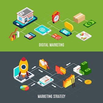Изометрические горизонтальные баннеры с блок-схемами, представляющими этапы цифровой маркетинговой стратегии