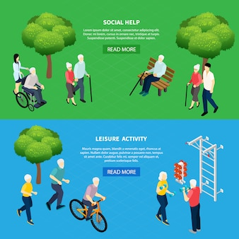 Isometric horizontal banners social help for elderly persons and leisure activity of pensioners isolated vector illustration