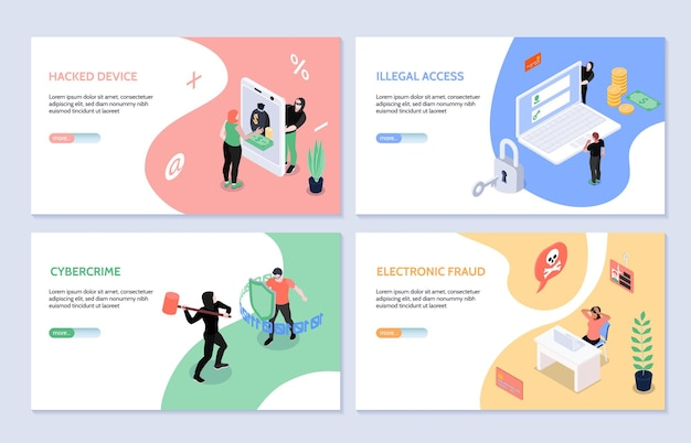 Isometric horizontal set of four cyber security  and hacker attacks  landing page template
