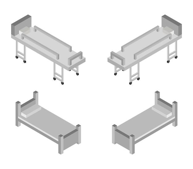Isometric hospital bed set