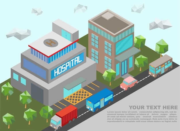 Isometric of hospital building and downtown