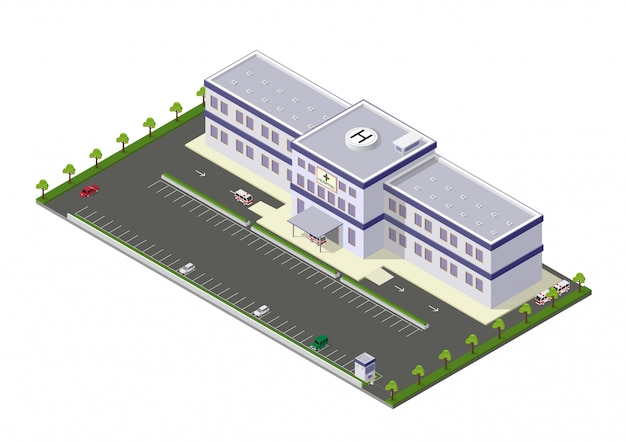 Isometric hospital building icon