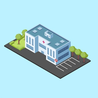 Isometric hospital building