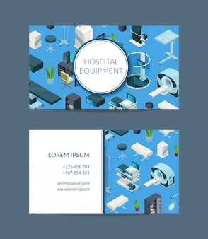 Isometric hospital icons business card