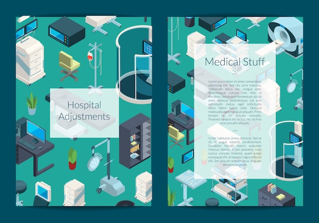 Isometric hospital icons card or flyer template
