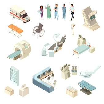 Isometric hospital icons set