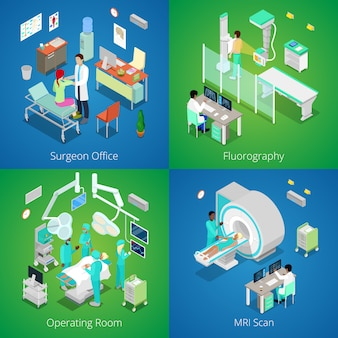 Isometric hospital interior. medical mri scan, operating room with doctors, fluorography process, surgeon office.   3d flat illustration