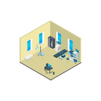 Isometric hospital interior with furniture and medical equipment illustration