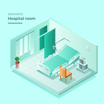 Isometric hospital room with bed and visiting chair