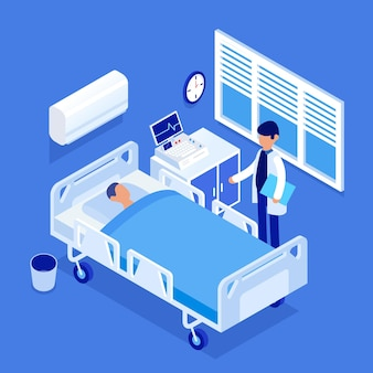 Isometric hospital room