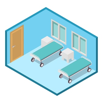 Isometric  hospital  ward clinic room interior.