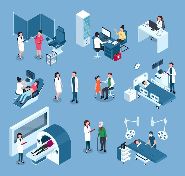Isometric hospital workers doctors surgeons with medical equipment examining patient set