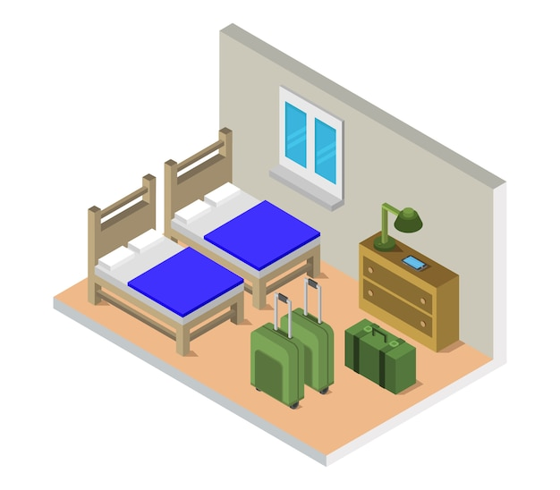 Isometric hostel room