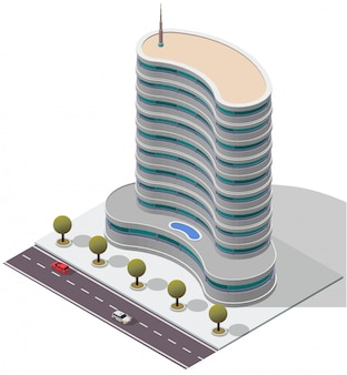 Isometric hotel apartment building