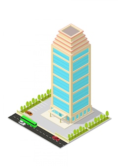 Isometric hotel, apartment, office, or skyscraper building