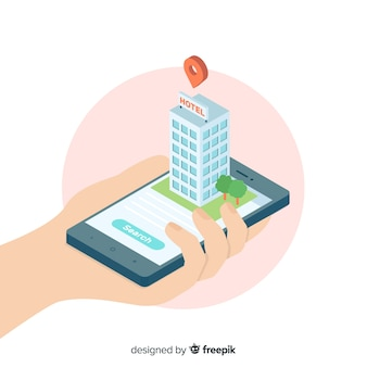 Isometric hotel booking background