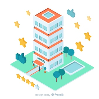 Isometric hotel building review concept