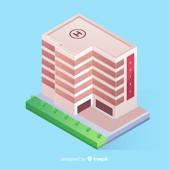 Isometric hotel building