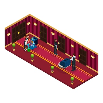 Isometric hotel cleaning service concept