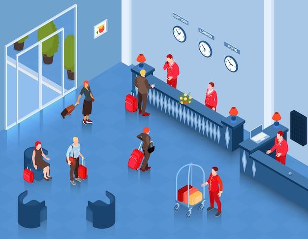 리셉션 데스크 대기 좌석과 사람들 일러스트와 함께 로비의 실내보기와 아이소 메트릭 호텔 홀 구성,