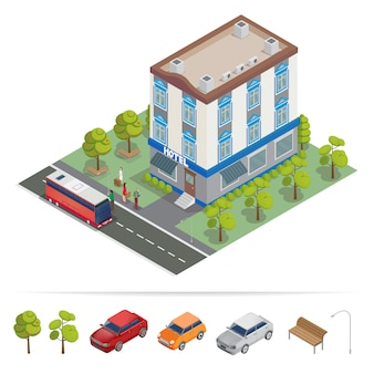 Isometric hotel. hotel building. travel industry.