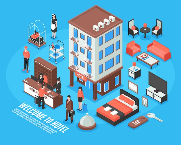 Isometric hotel icon set