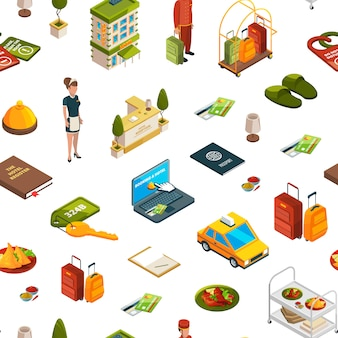Изометрические иконки отеля шаблон или иллюстрация