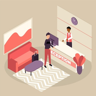 Isometric hotel reception concept