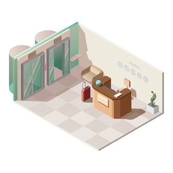 Isometric hotel reception hall interior