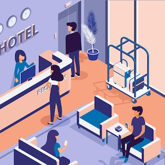 Isometric hotel reception illustrated