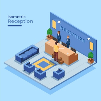 Isometric hotel reception with people