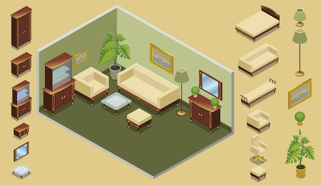 Isometric hotel room creation concept with bed chairs cabinets mirror tables lamps plants picture