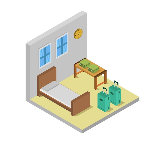 Isometric hotel room