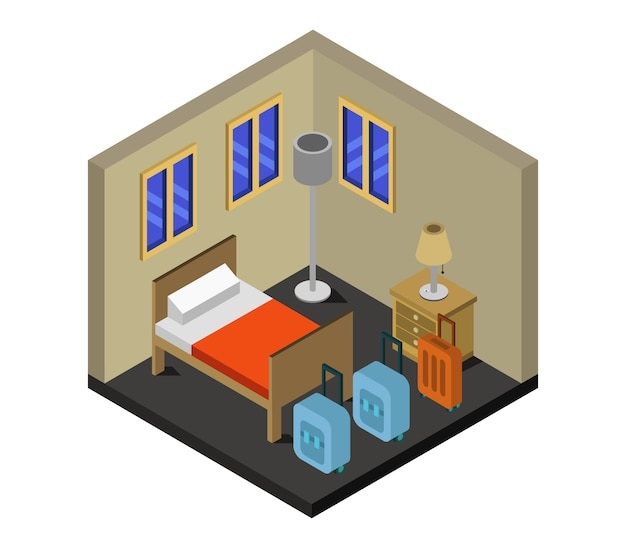 Isometric hotel room