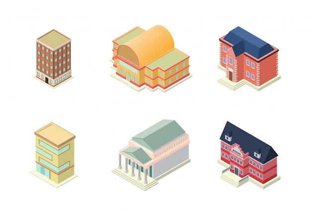 Isometric hotel, school, apartment, or skyscrapers buildings set