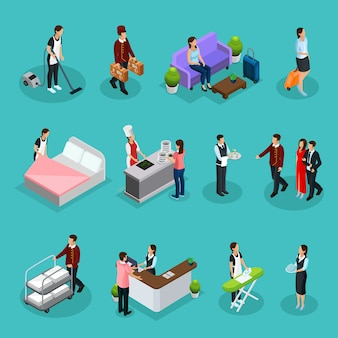 Isometric hotel services set with maid bellboy waiter receptionist clients characters ironing cleaning room cooking laundry services isolated