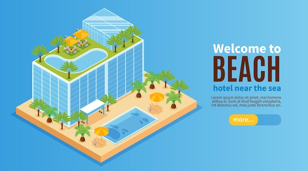Isometric hotel water park horizontal banner with building with pools