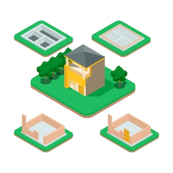 Isometric house building process.