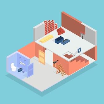 Isometric house under construction design