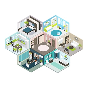 Isometric house different floors composition