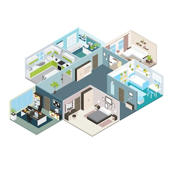 Isometric house interior view