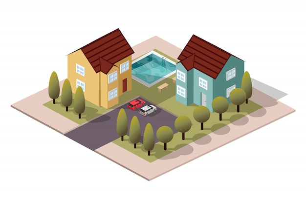 Isometric house neighbor