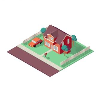 흰색 배경에 아이소 메트릭 집입니다. 집, 부동산 또는 임대 개념 그림. 아이소 메트릭 관점에서 개인 주택입니다. 낮은 폴리 화려한 건물.