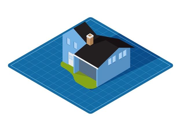 Изометрические дом на плане, векторные иллюстрации